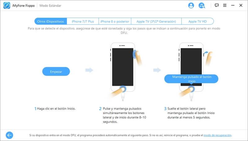poner tu iPhone en el modo DFU