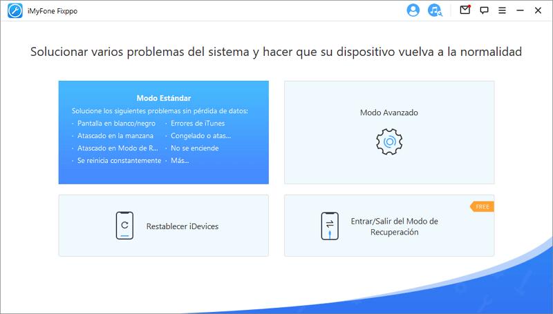 interfaz de iMyFone Fixppo