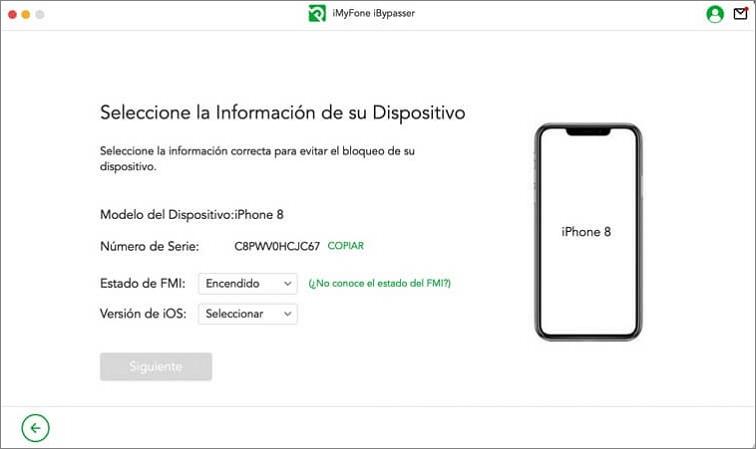 Selecciona el estado de FMI y la versión de iOS