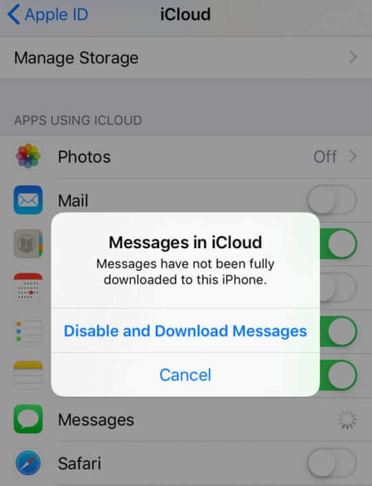 restaurar desde Mensajes en iCloud