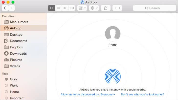 importar contactos de iphone a mac usando airdrop