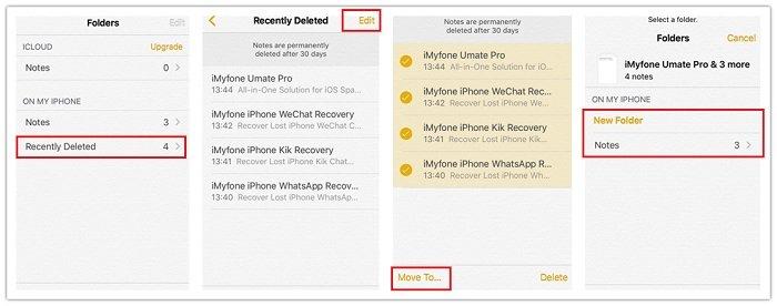 Recuperar notas borradas iPhone desde Recién eliminado