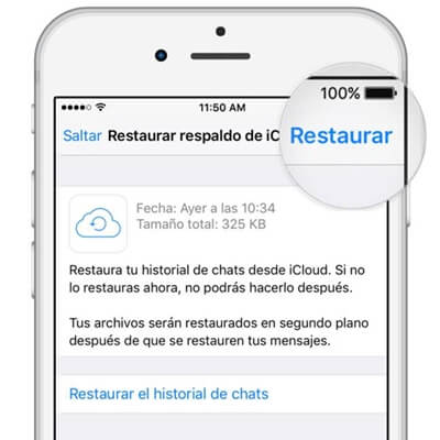 pasar whatsapp iphone con la copia de seguridad de icloud