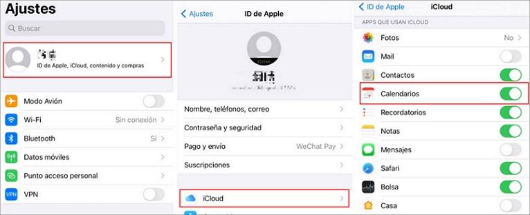 sincronizar eventos de calendario en la configuración de iCloud