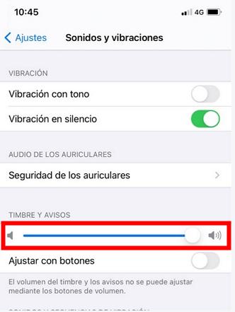 comprobar Timbre del iPhone