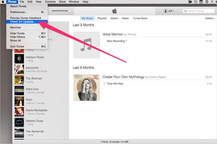 iPhone no aparece en iTunes por la version de itunes baja