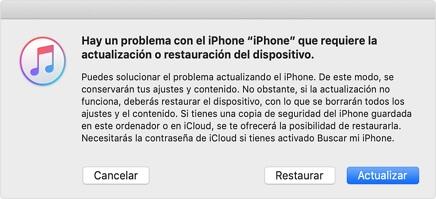 restaurar iPhone con iTunes
