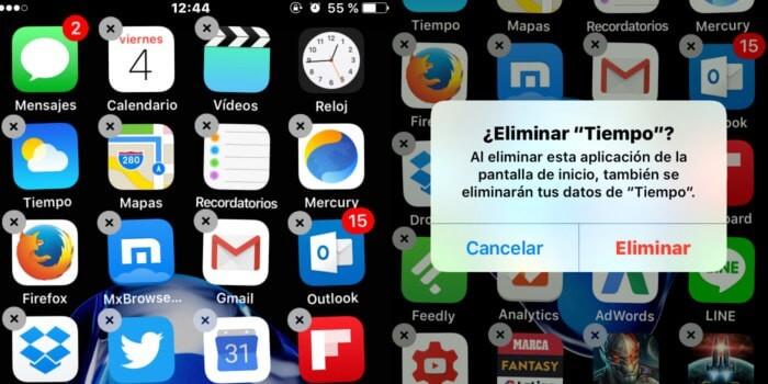 eliminar la app en iPhone