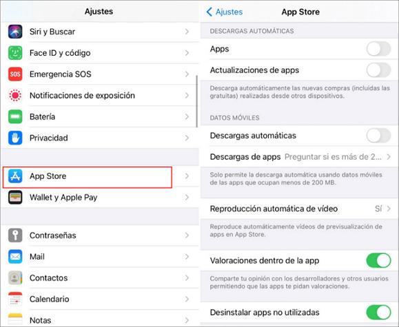 Desactivar las descargas automáticas y las actualizaciones de apps