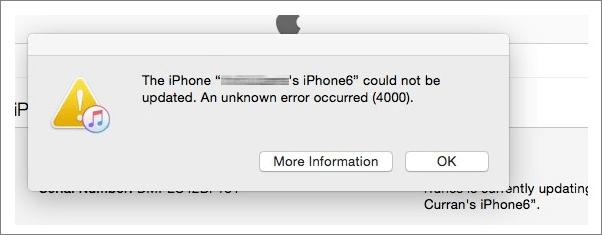 error 4000 iPhone