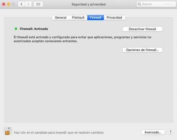 Problemas con el Firewall en Mac