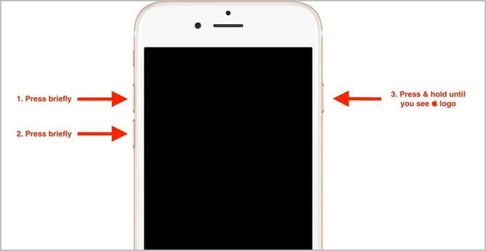 forzar reinicio de iPhone para arreglar Mensajes vacios