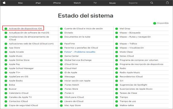 comprobar el estado del sistema iOS
