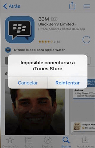 Imposible conectarse con iTunes Store