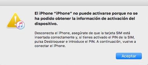 el iPhone no puede activarse porque no se ha podido obtener la información de activación