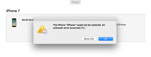 No se puede restaurar el iPhone