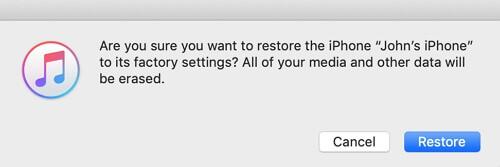¿Estás seguro de que deseas restaurar el iPhone 7?