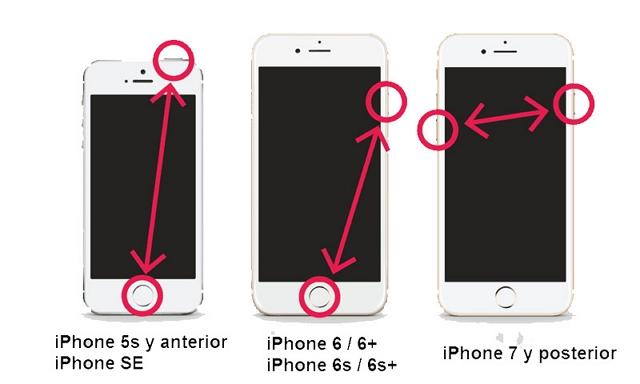 resetear iPhone con botones