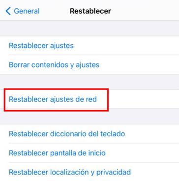 Restablecer los ajustes de red
