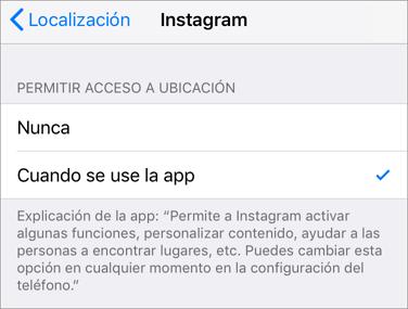 permetir el acceso de ubicación cuando se usa la app