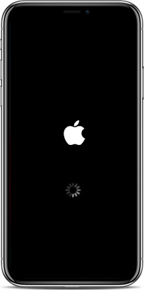 iPhone pegado en el logo de Apple con una rueda giratoria