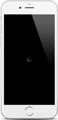 iphone pantalla negra y circulo girando