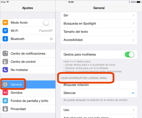 Asignar la rotación y el silenciamiento desde ajustes del iPad