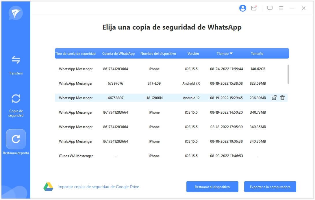 elige una copia de seguridad de WhatsApp para exportar