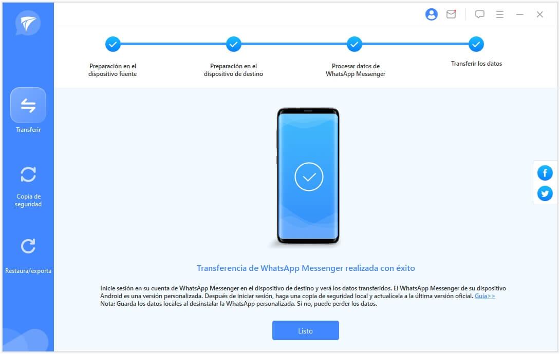 completar la transferencia de whatsapp de iphone a samsung