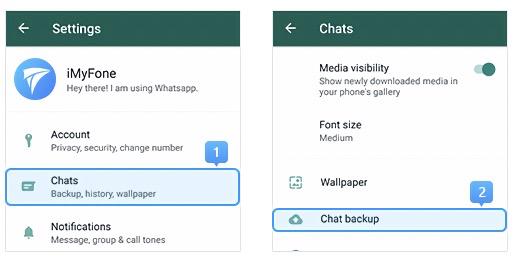 accede a la copia de seguridad de whatsapp en la configuración del chat