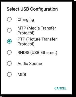 opcion de conexion de USB