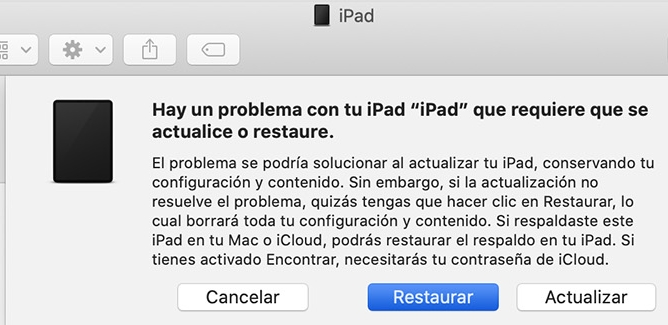 itunes require restaurar iPad