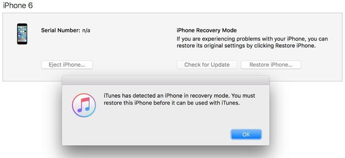 desbloqueo de iphone con el modo de recuperación