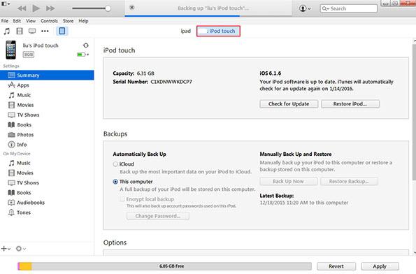 restaurar tu iPod Touch con la copia de seguridad