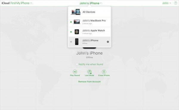 Eliminar el dispositivo de la cuenta desde Encuentra mi iphone.