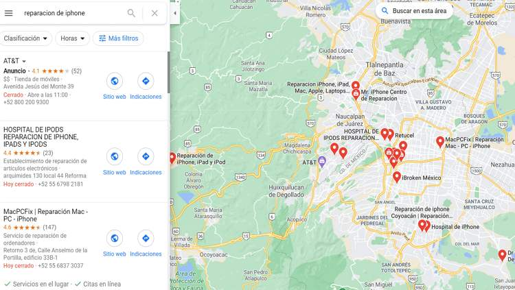 Buscar establecimientos de desbloqueo de iPhone con Google Maps