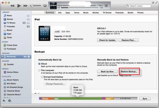restaurar la copia de seguridad del iPhone