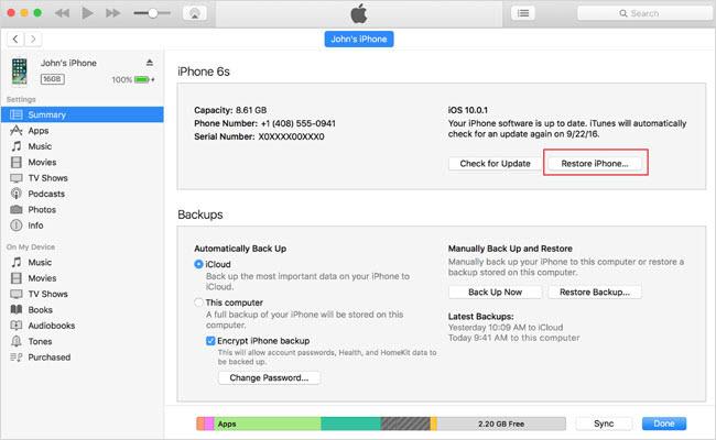 restablecer el iPhone sin contrase?a del ID de Apple a través de iTunes