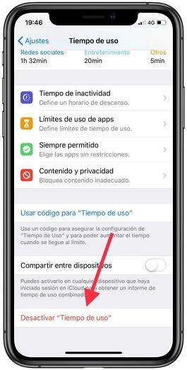 desactivar el limite de tiempo de uso en iPhone