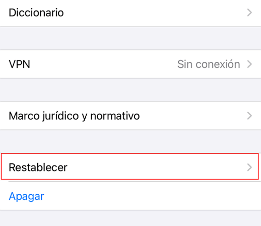 haga clic en restablecer iphone