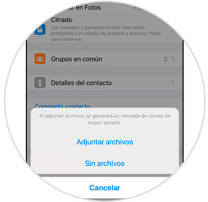 adjunta archivos cuando exporta chats de whatsapp