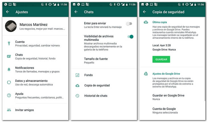 Pasar copia de seguridad de WhatsApp de Android a Google Drive