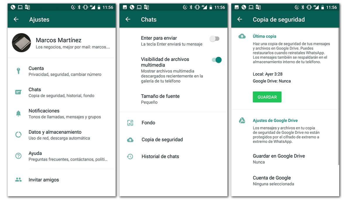 Verificar los ajustes de WhatsApp