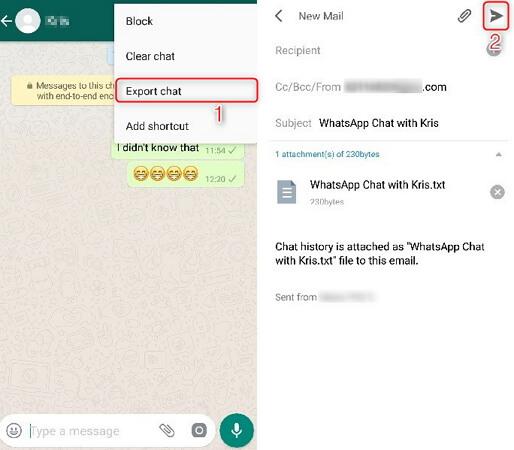enviar los chats de whatsapp via email