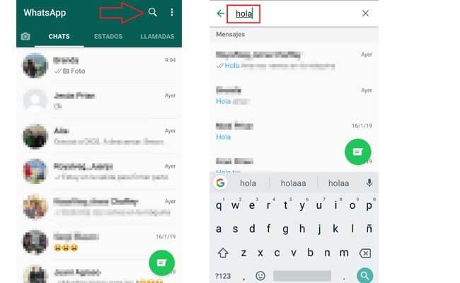 Buscar mensajes de WhatsApp en Android en todos los chats
