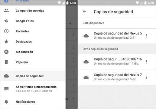 ajustes de google drive