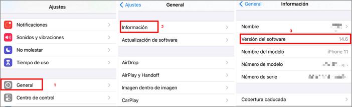 Verificar la versión de iOS