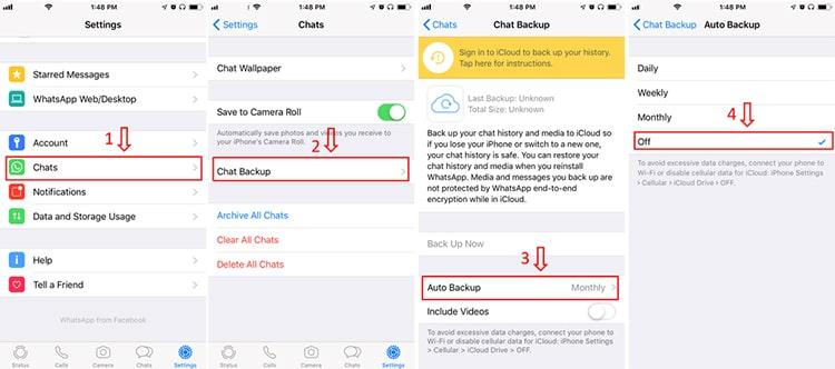 desactiva la copia de seguridad automática de WhatsApp en el iphone