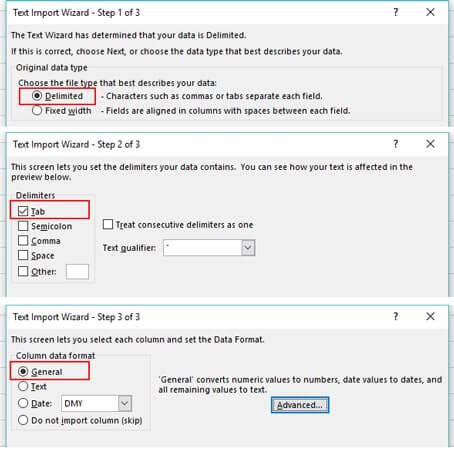 importar archivo de texto a Excel
