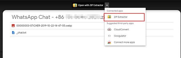 copia de seguridad de chat de whatsapp con zip extractor